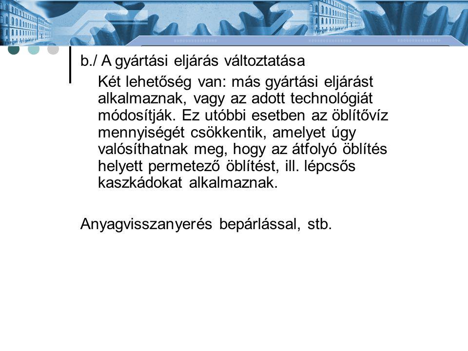 b./ A gyártási eljárás változtatása