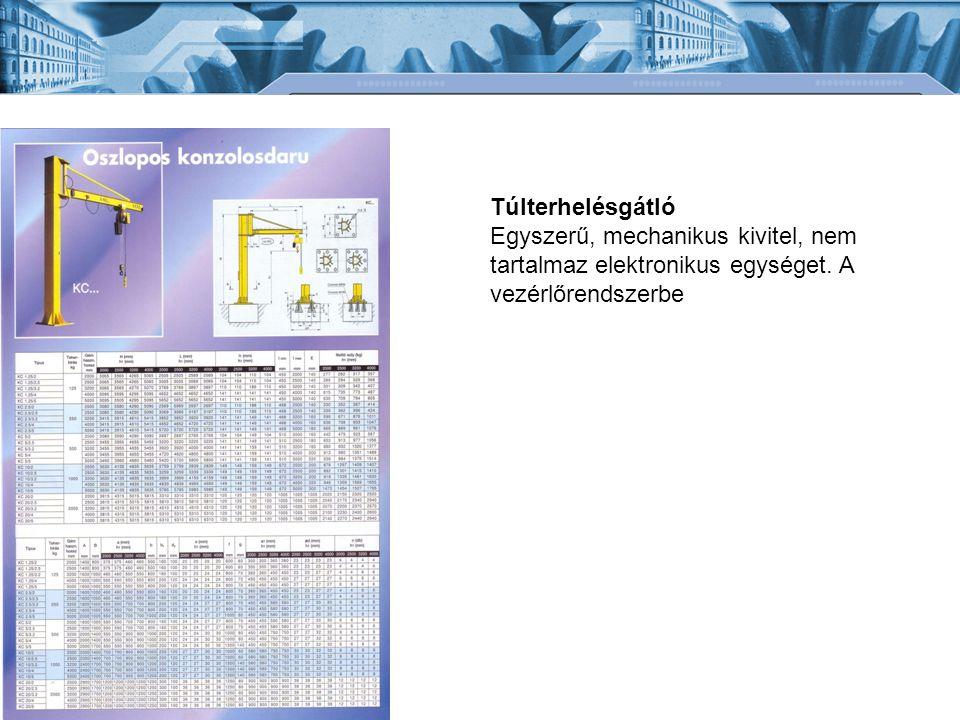 Túlterhelésgátló Egyszerű, mechanikus kivitel, nem tartalmaz elektronikus egységet.