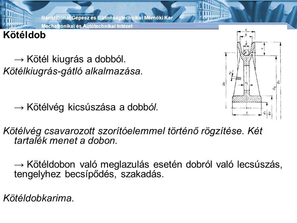 → Kötél kiugrás a dobból. Kötélkiugrás-gátló alkalmazása.