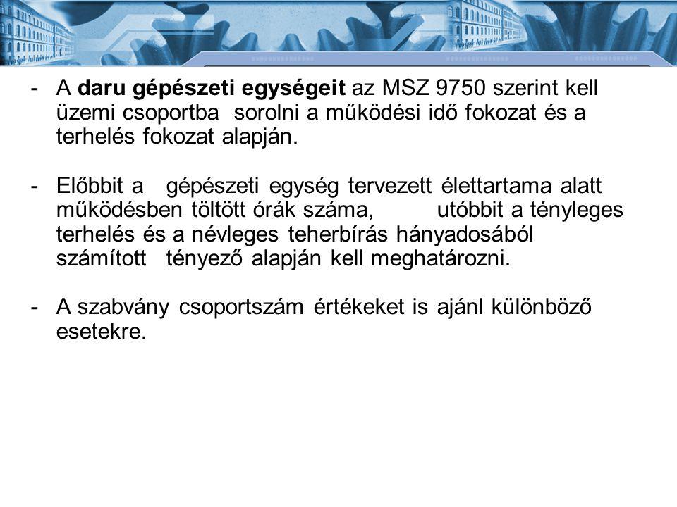 A daru gépészeti egységeit az MSZ 9750 szerint kell üzemi csoportba