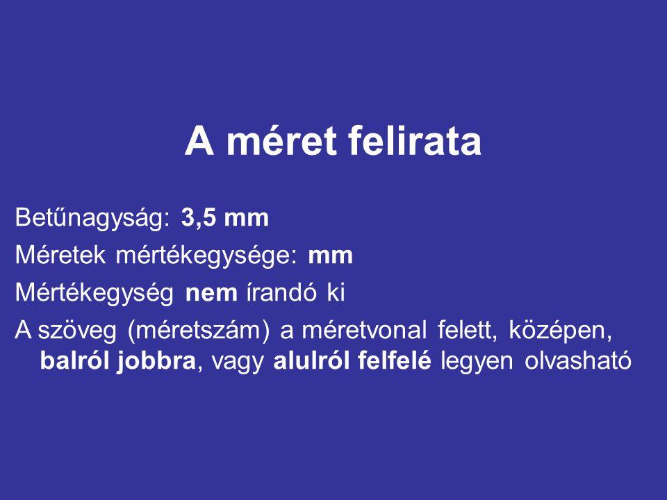 A méret felirata Betűnagyság: 3,5 mm Méretek mértékegysége: mm