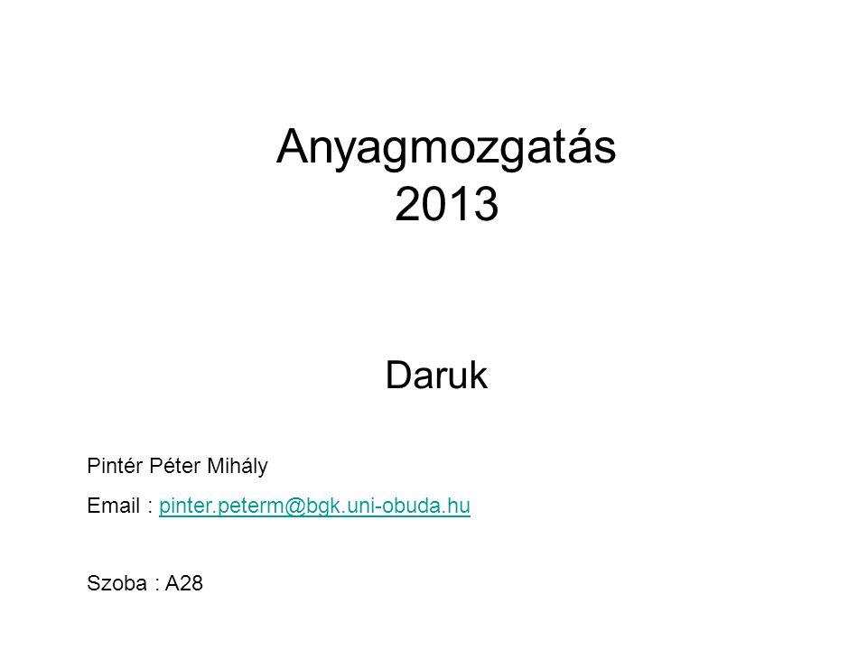 Anyagmozgatás 2013 Daruk Pintér Péter Mihály