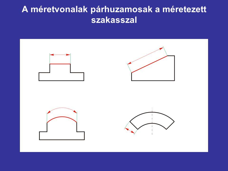 A méretvonalak párhuzamosak a méretezett szakasszal