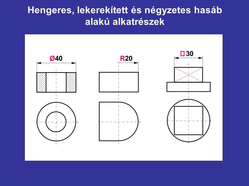 Hengeres, lekerekített és négyzetes hasáb alakú alkatrészek