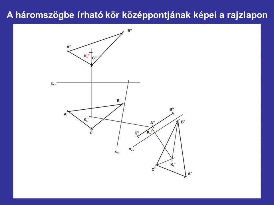 A háromszögbe írható kör középpontjának képei a rajzlapon