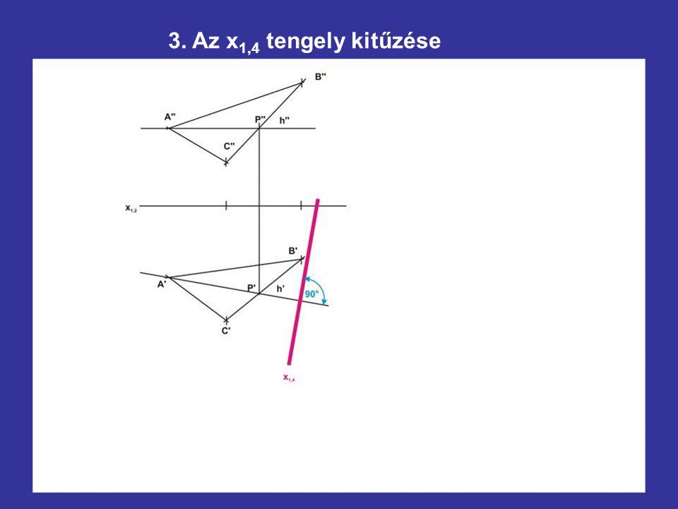 3. Az x1,4 tengely kitűzése