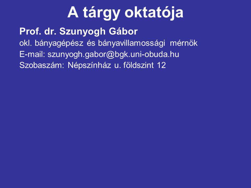 A tárgy oktatója Prof. dr. Szunyogh Gábor