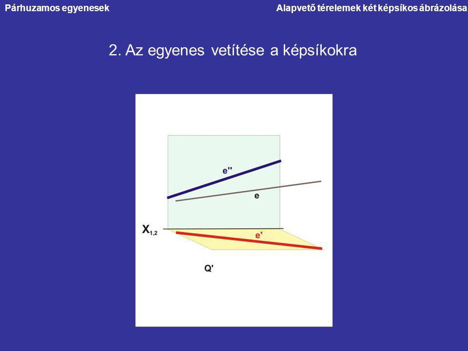 2. Az egyenes vetítése a képsíkokra