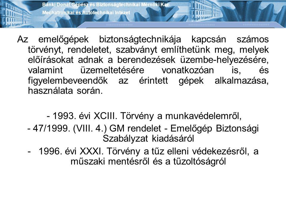 - 1993. évi XCIII. Törvény a munkavédelemről,