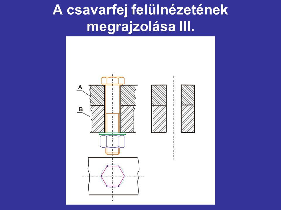 A csavarfej felülnézetének megrajzolása III.