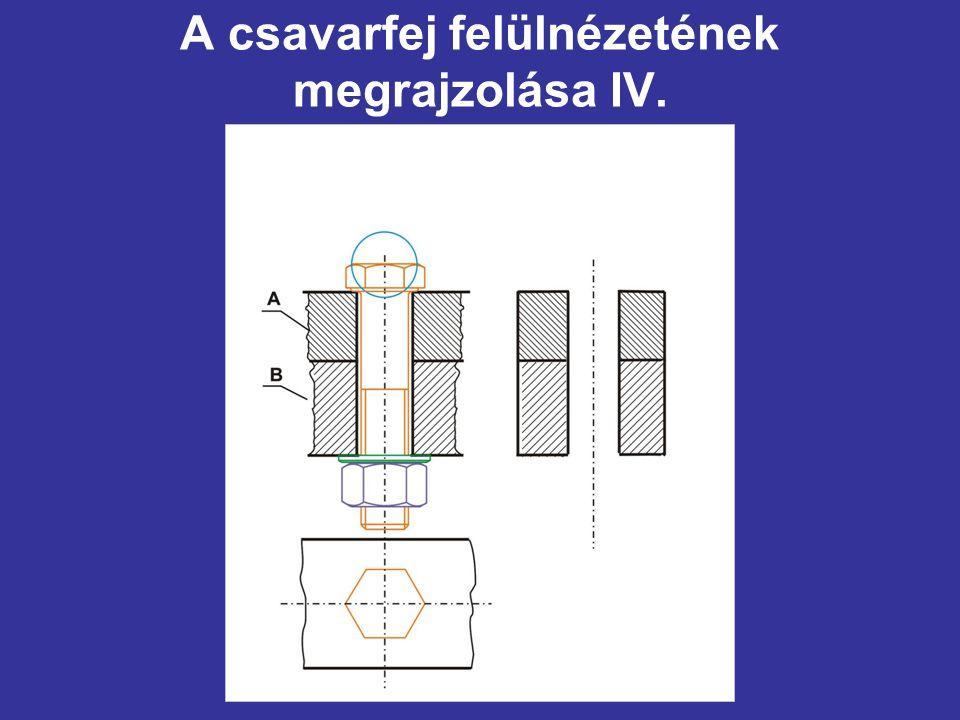 A csavarfej felülnézetének megrajzolása IV.