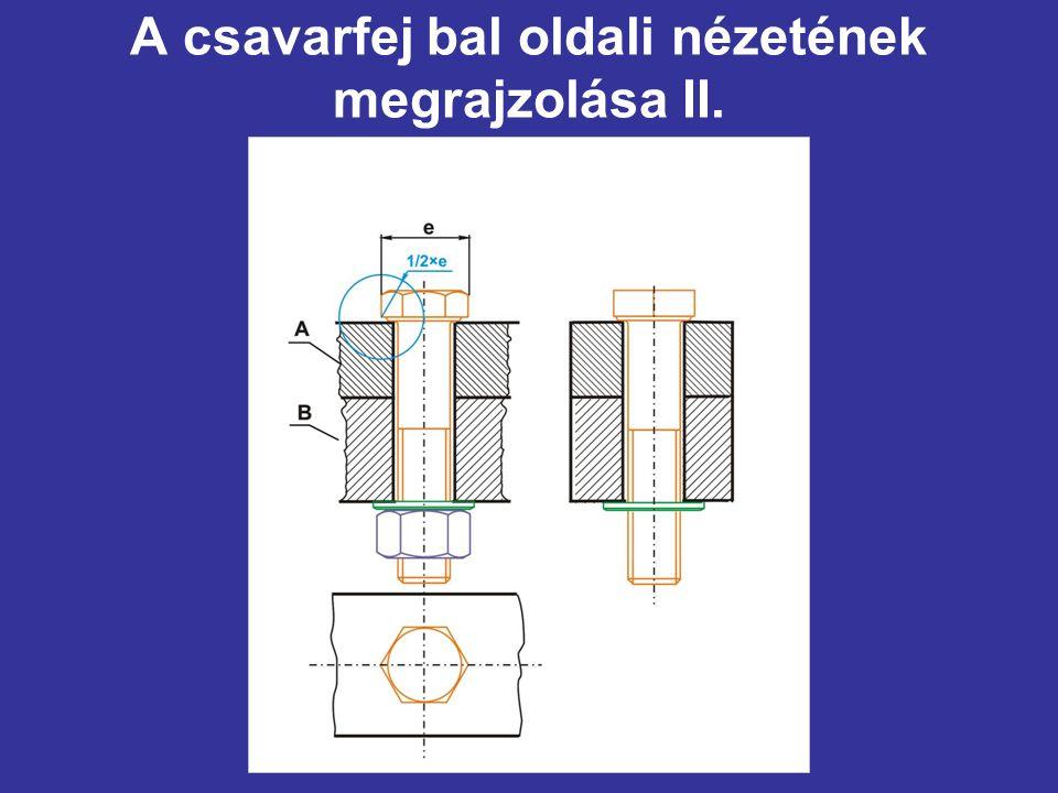 A csavarfej bal oldali nézetének megrajzolása II.
