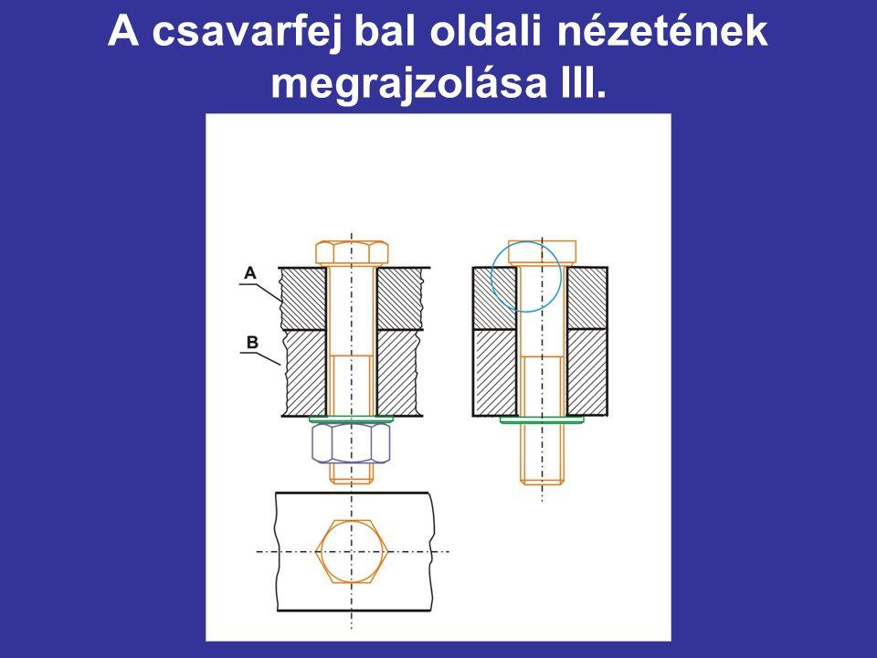 A csavarfej bal oldali nézetének megrajzolása III.