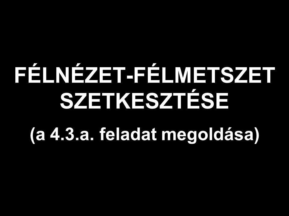FÉLNÉZET-FÉLMETSZET SZETKESZTÉSE