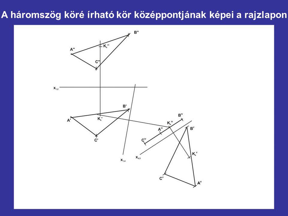 A háromszög köré írható kör középpontjának képei a rajzlapon