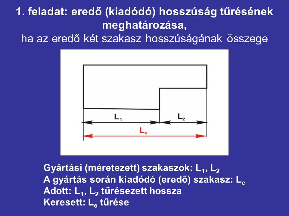 1. feladat: eredő (kiadódó) hosszúság tűrésének meghatározása, ha az eredő két szakasz hosszúságának összege