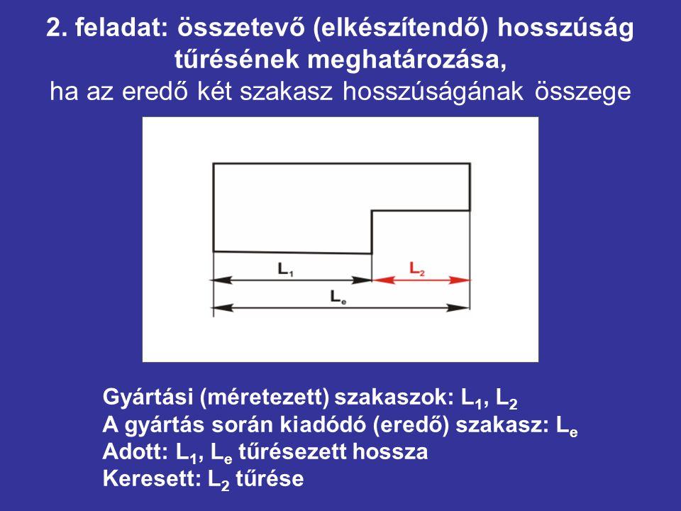 2. feladat: összetevő (elkészítendő) hosszúság tűrésének meghatározása, ha az eredő két szakasz hosszúságának összege