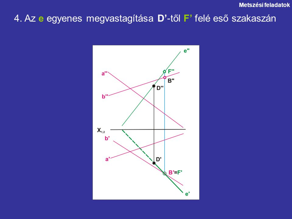 4. Az e egyenes megvastagítása D'-től F' felé eső szakaszán