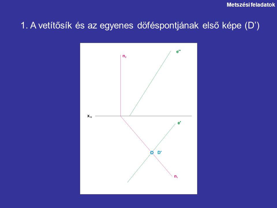 1. A vetítősík és az egyenes döféspontjának első képe (D')