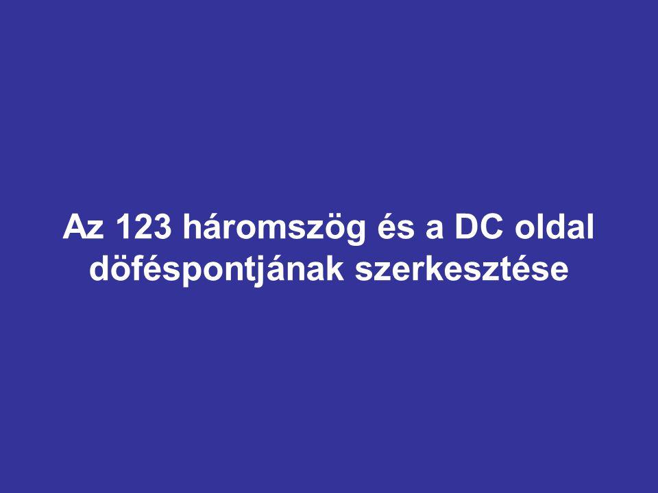 Az 123 háromszög és a DC oldal döféspontjának szerkesztése
