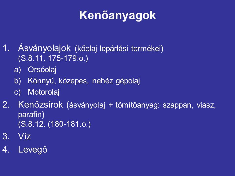 Kenőanyagok Ásványolajok (kőolaj lepárlási termékei) (S.8.11. 175-179.o.) Orsóolaj. Könnyű, közepes, nehéz gépolaj.