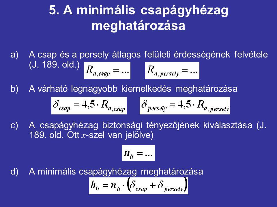 5. A minimális csapágyhézag meghatározása