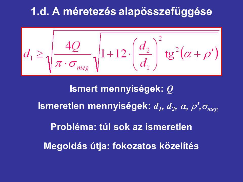 1.d. A méretezés alapösszefüggése