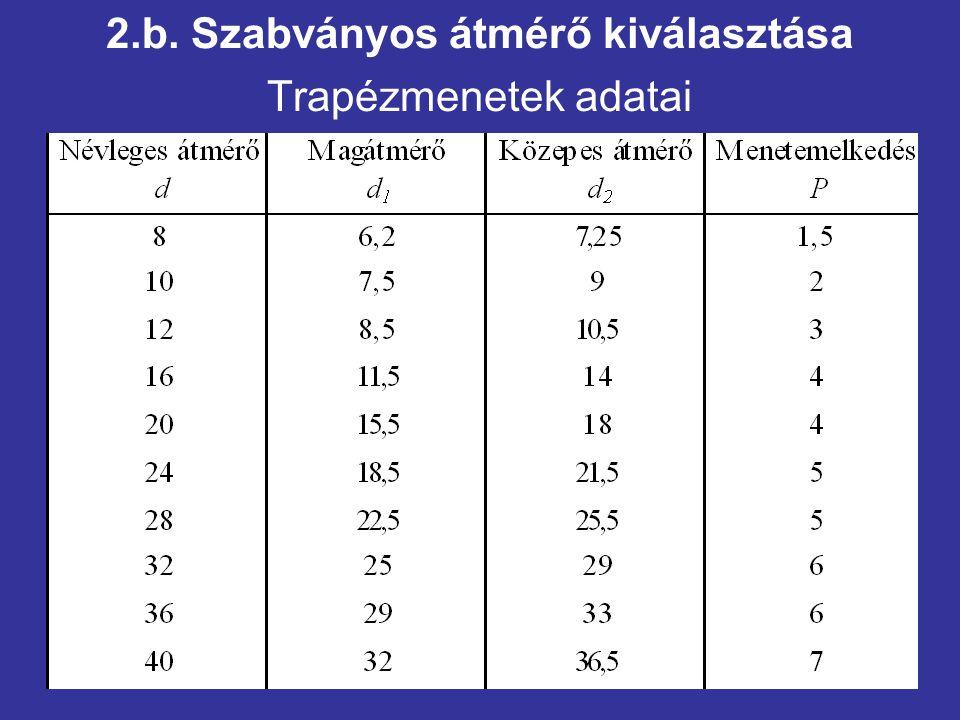 2.b. Szabványos átmérő kiválasztása