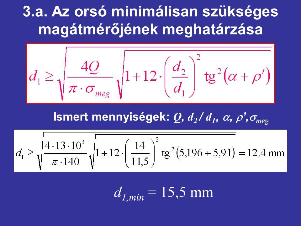 3.a. Az orsó minimálisan szükséges magátmérőjének meghatárzása