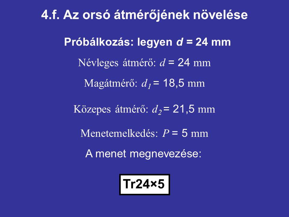 4.f. Az orsó átmérőjének növelése