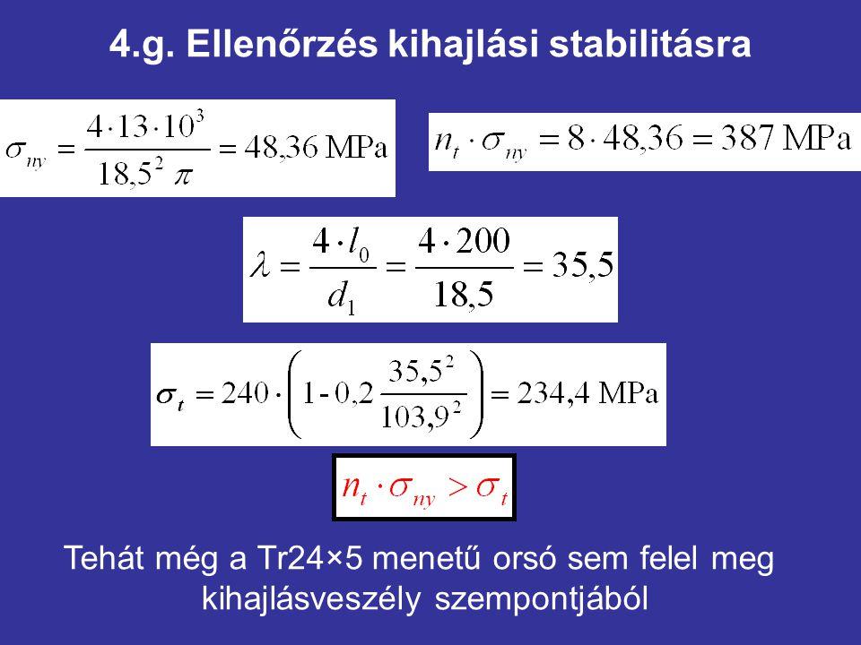 4.g. Ellenőrzés kihajlási stabilitásra