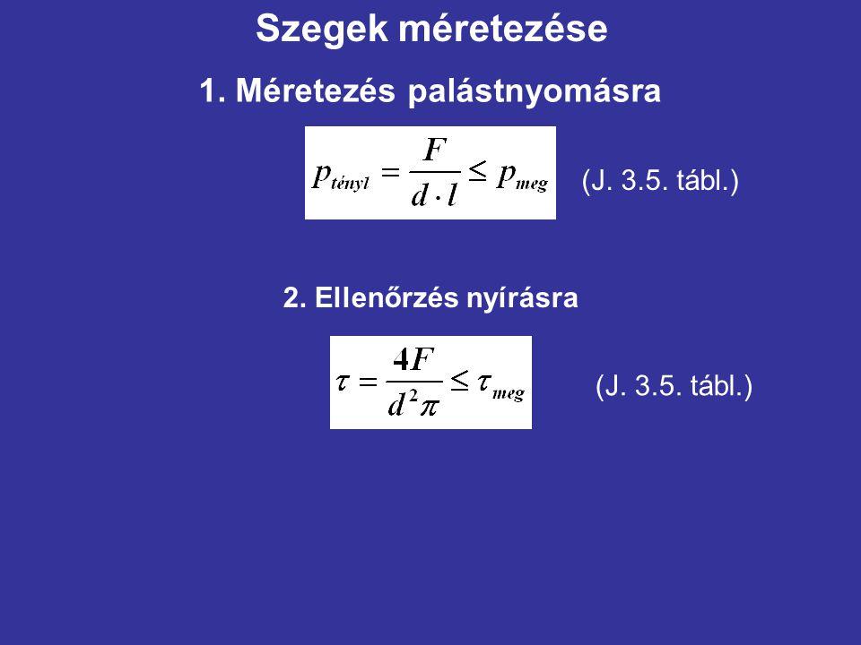 Szegek méretezése 1. Méretezés palástnyomásra (J. 3.5. tábl.)