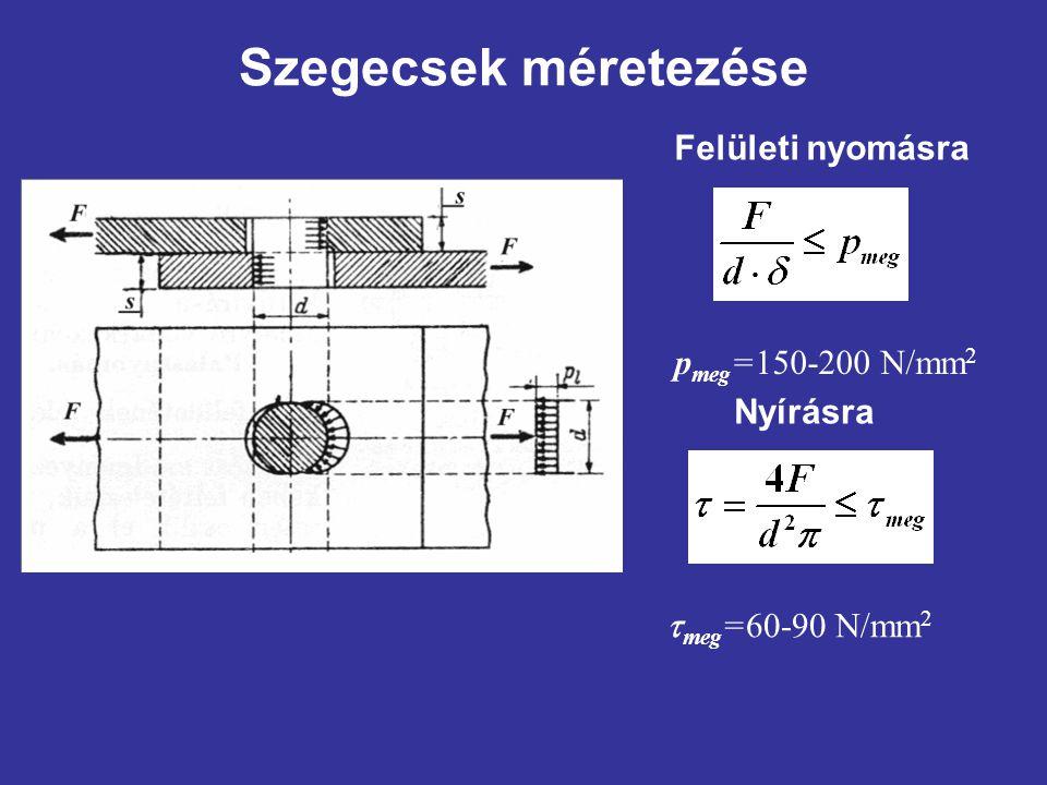 Szegecsek méretezése Felületi nyomásra pmeg=150-200 N/mm2 Nyírásra