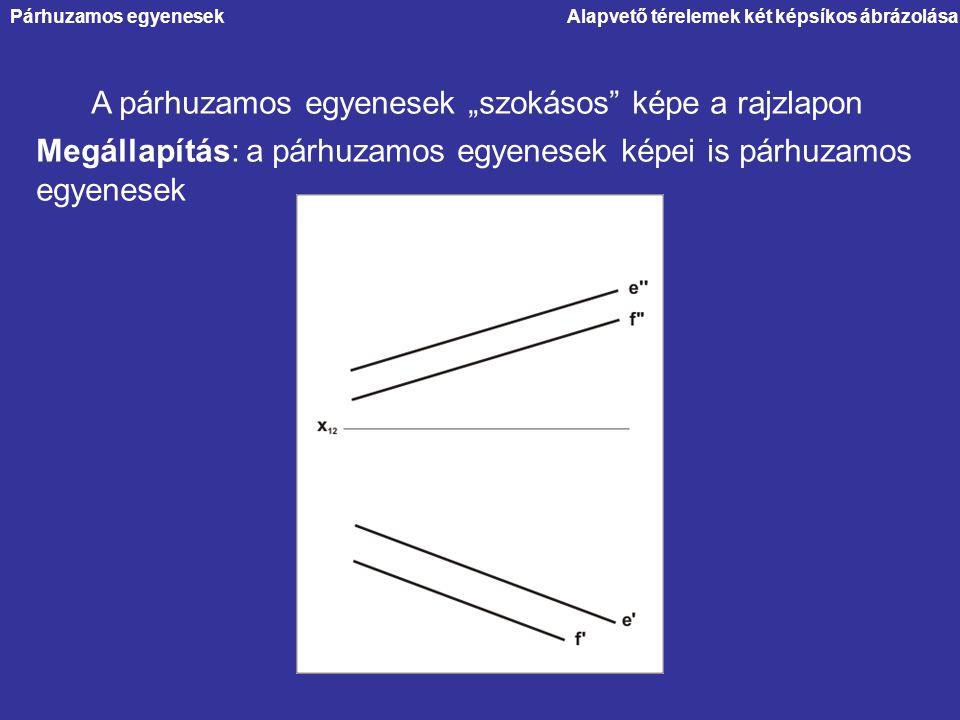 """A párhuzamos egyenesek """"szokásos képe a rajzlapon"""