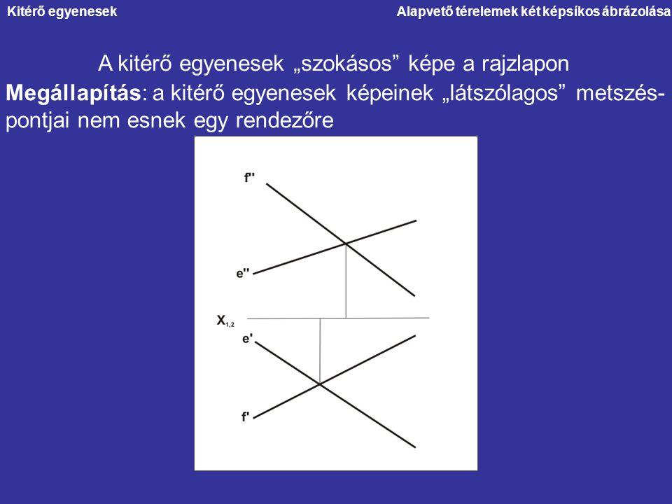 """A kitérő egyenesek """"szokásos képe a rajzlapon"""