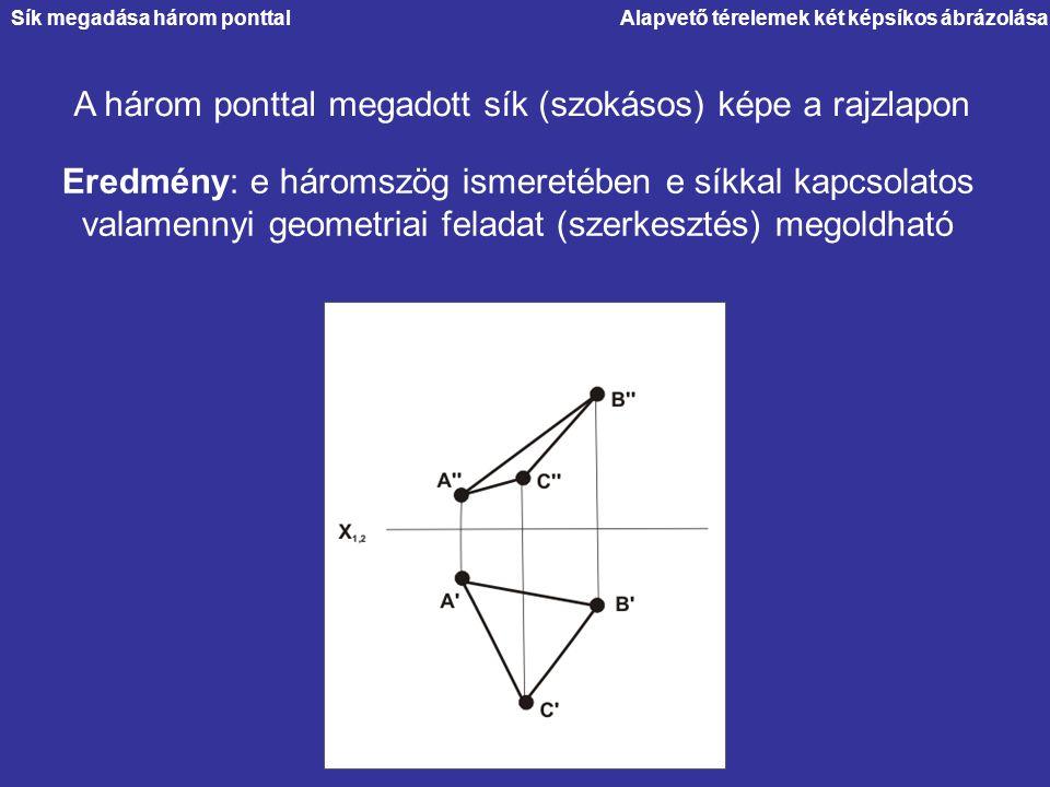 A három ponttal megadott sík (szokásos) képe a rajzlapon