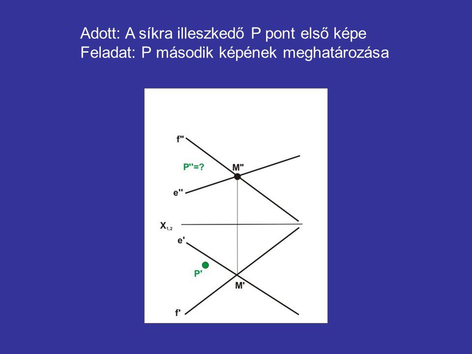 Adott: A síkra illeszkedő P pont első képe