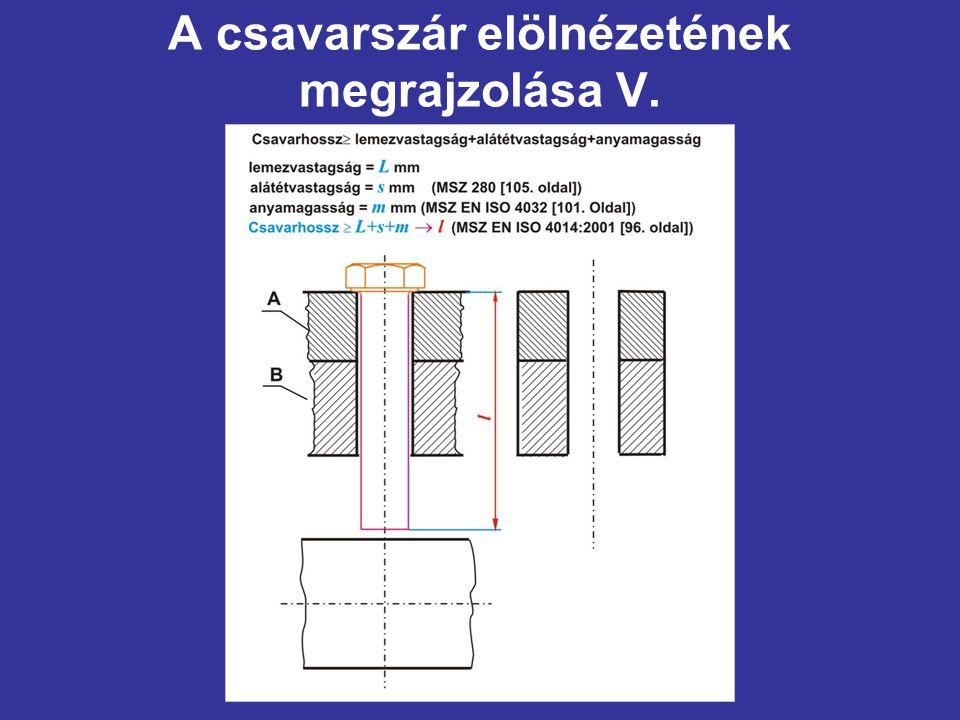 A csavarszár elölnézetének megrajzolása V.
