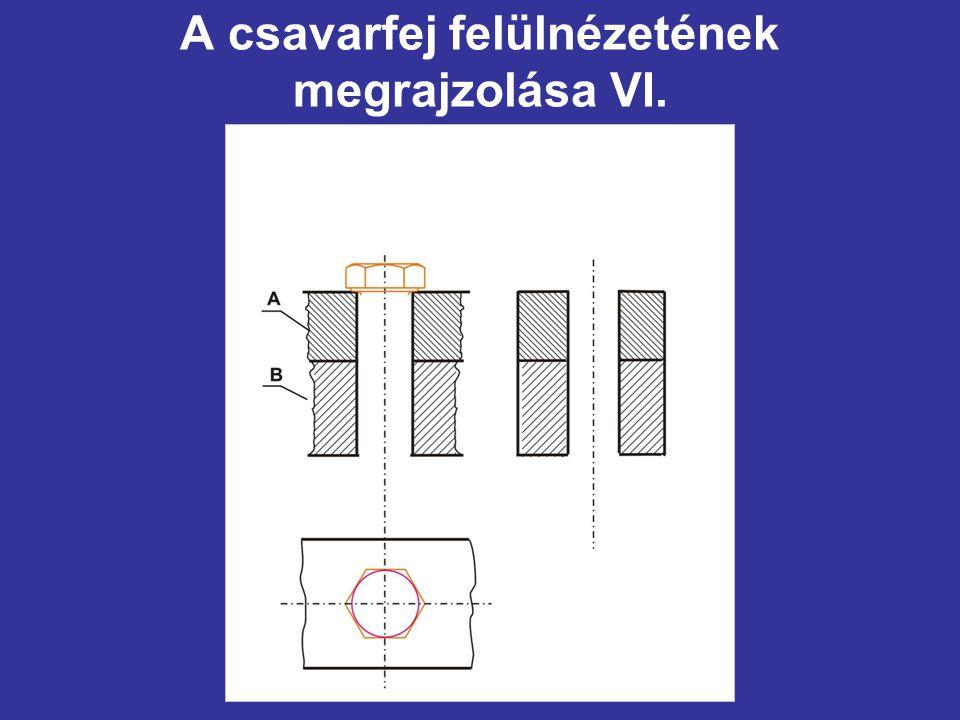 A csavarfej felülnézetének megrajzolása VI.