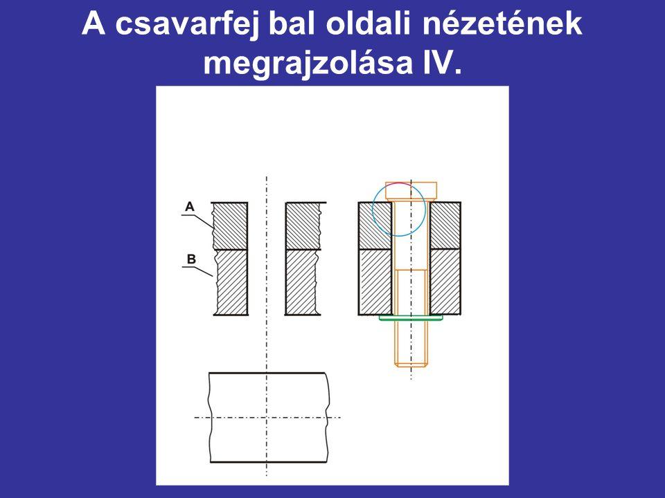A csavarfej bal oldali nézetének megrajzolása IV.