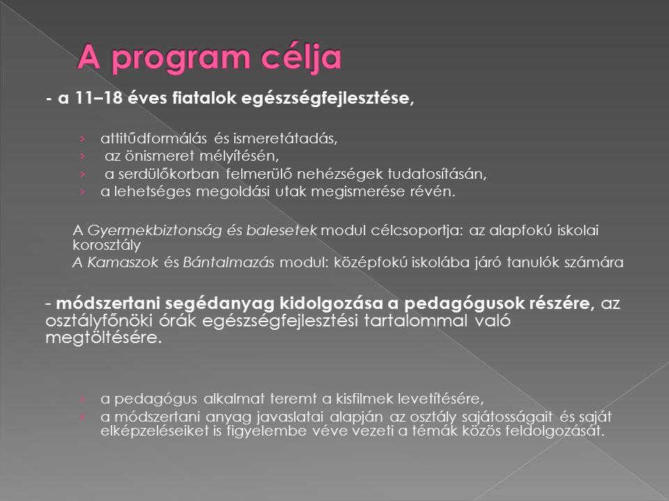 A program célja - a 11–18 éves fiatalok egészségfejlesztése,