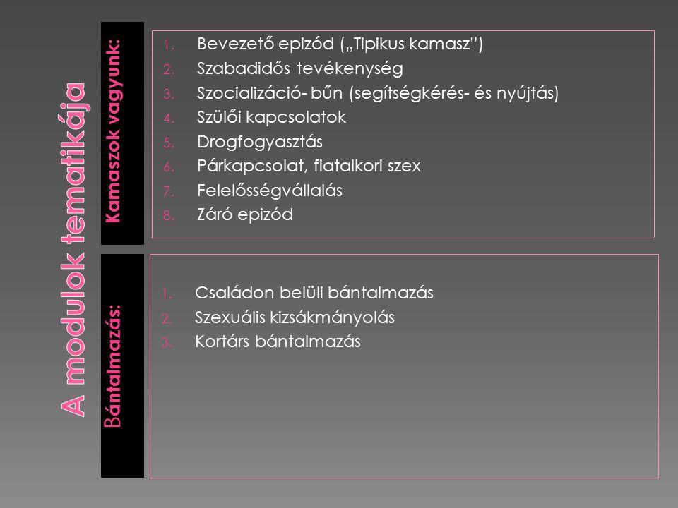 A modulok tematikája Bántalmazás: Kamaszok vagyunk: