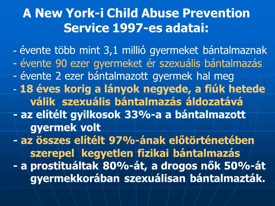 A New York-i Child Abuse Prevention Service 1997-es adatai: