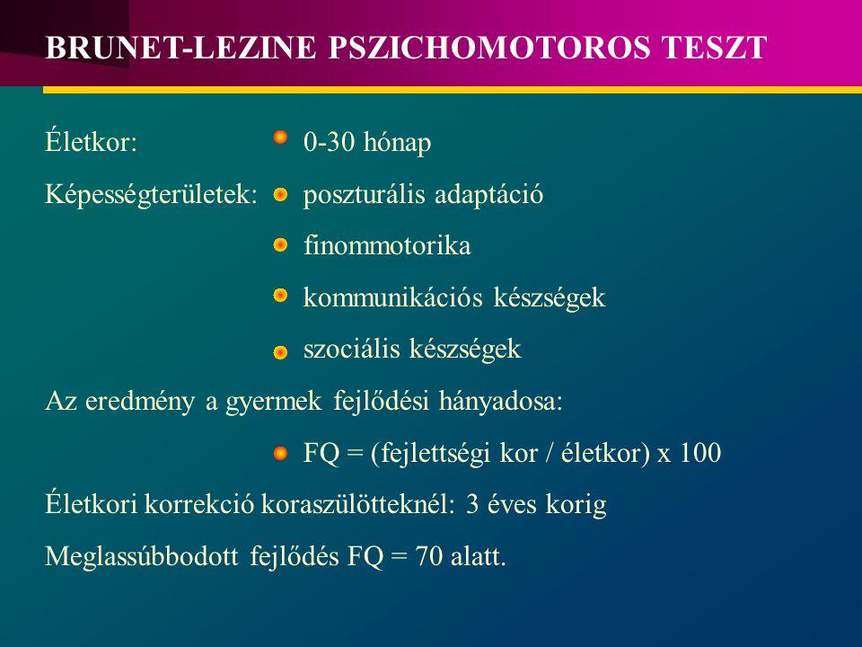 BRUNET-LEZINE PSZICHOMOTOROS TESZT