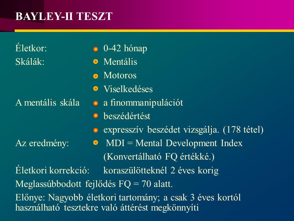 BAYLEY-II TESZT Életkor: 0-42 hónap Skálák: Mentális Motoros
