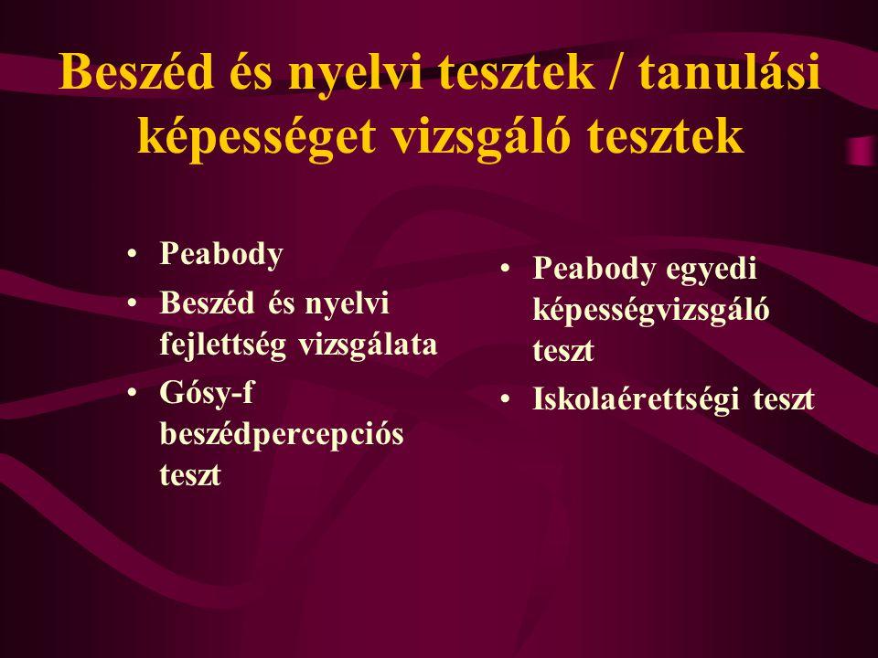 Beszéd és nyelvi tesztek / tanulási képességet vizsgáló tesztek