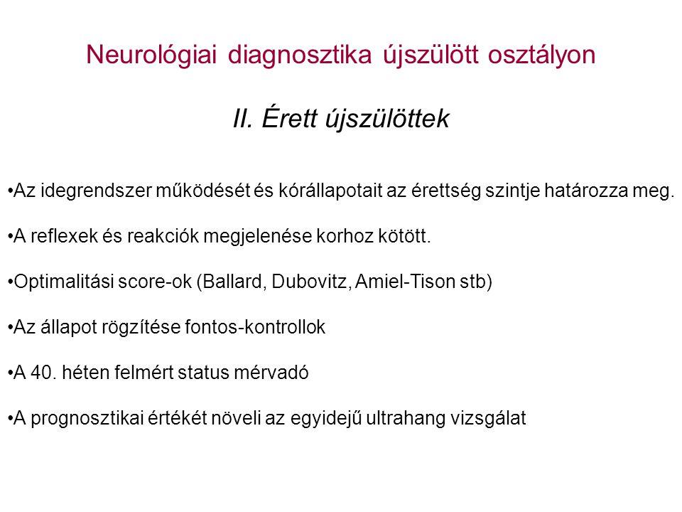 Neurológiai diagnosztika újszülött osztályon