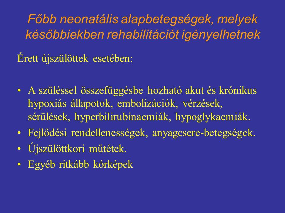 Főbb neonatális alapbetegségek, melyek későbbiekben rehabilitációt igényelhetnek