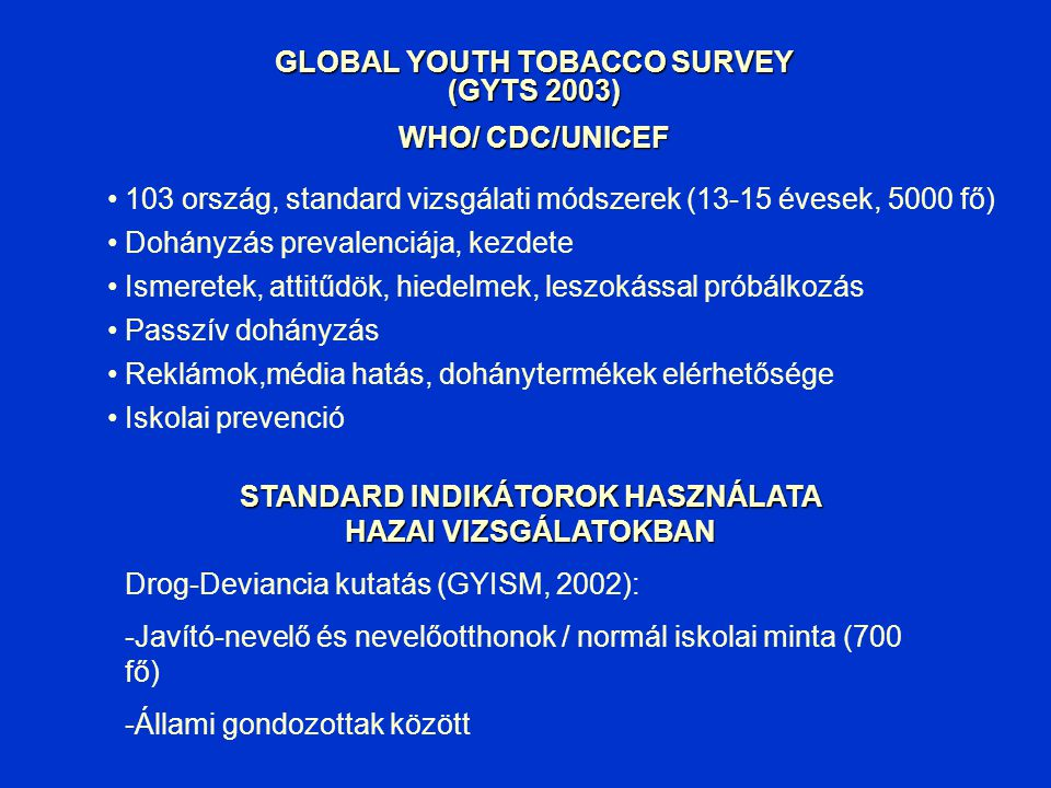 GLOBAL YOUTH TOBACCO SURVEY (GYTS 2003) WHO/ CDC/UNICEF