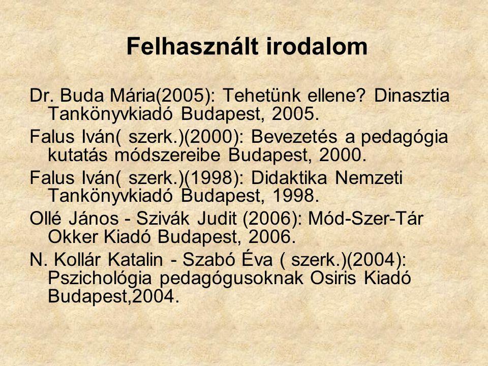 Felhasznált irodalom Dr. Buda Mária(2005): Tehetünk ellene Dinasztia Tankönyvkiadó Budapest, 2005.